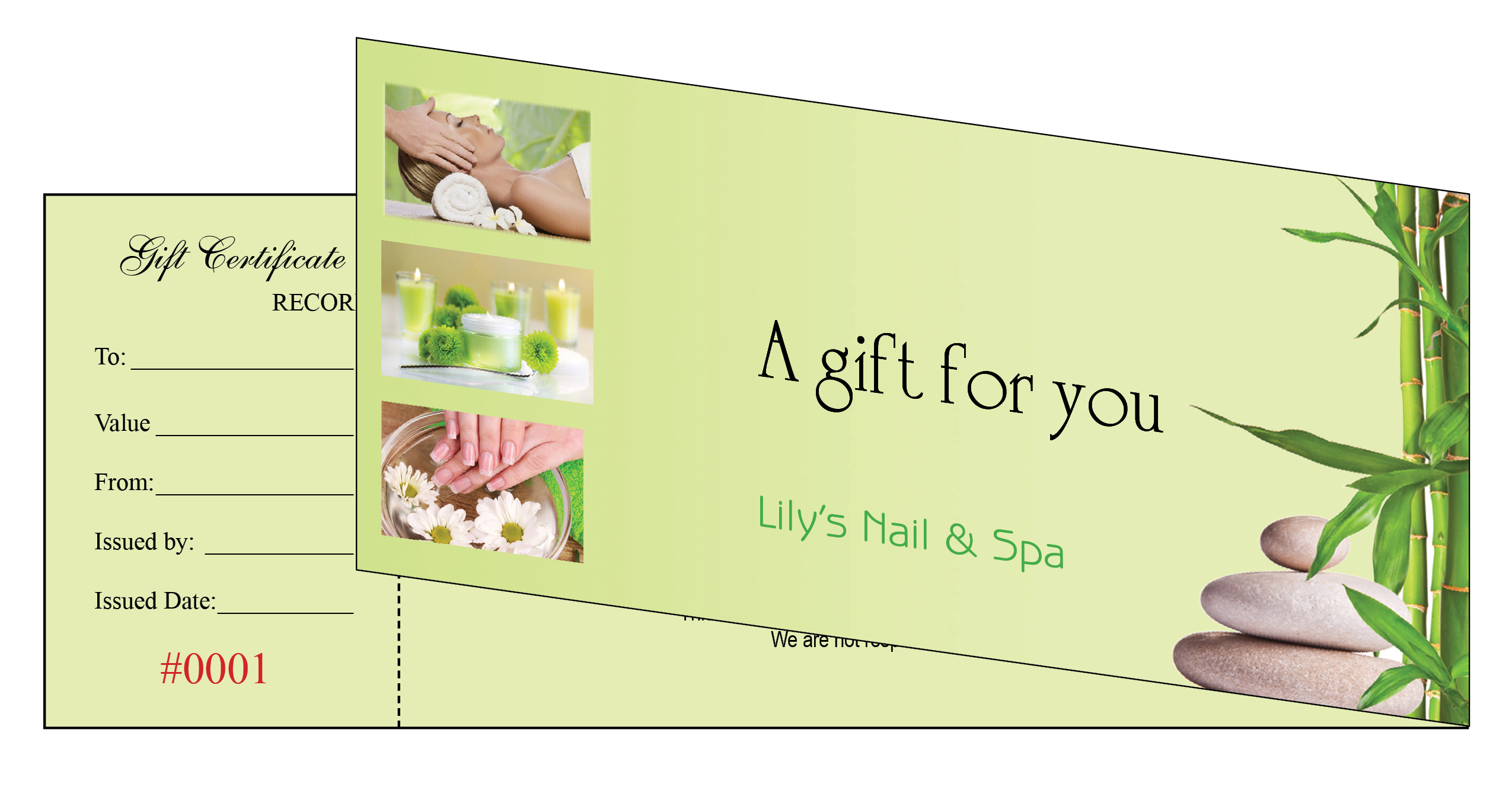 Gift Certificates Printing For Nail Salon